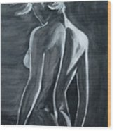 Female Nude Black And Grey Wood Print