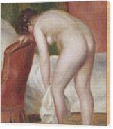 Female Nude Drying Herself Wood Print