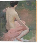 Female Nude Wood Print by Jules Ernest Renoux