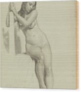 Female Nude Perched On A Stool Wood Print