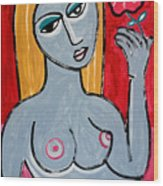 Female Nude Poppy Girl By Robert Erod Wood Print