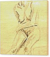 Female Nude With Arm Across Wood Print