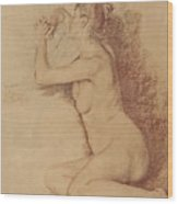 Female Nude With Folded Hands Wood Print