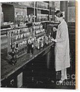 Female Scientist Conducting Experiment Wood Print