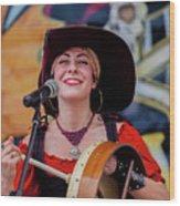 Female Stage Performer With Drum Wood Print