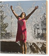 Femme Fountain Wood Print by Al Powell Photography USA