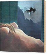 Femme Oiseau Montagne Wood Print