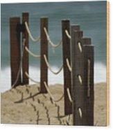 Fence Along The Beach Wood Print