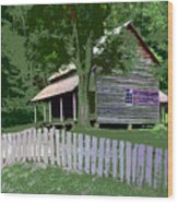 Fence And Cabin Wood Print