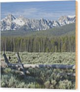 Fence And The Sawtooths Wood Print