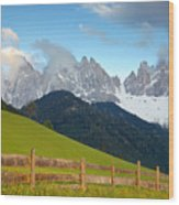 Fence At Val Di Funne Wood Print