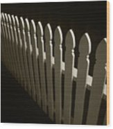 Fence Bw Wood Print