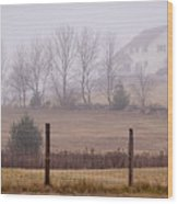 Fence Field And Fog Wood Print