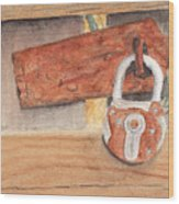 Fence Lock Wood Print