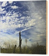 Fence Post And New Mexico Sky Wood Print