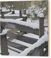 Fence Post At Donner Lake Area Covered Wood Print