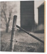 Fence Post In Black And White Wood Print