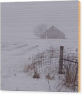 Fence Post In The Snow Wood Print