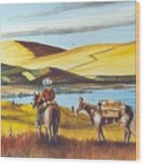 Fence Rider Going Home Wood Print