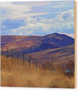 Fence Views Wyoming Color Wood Print