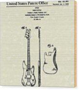 Fender Bass Guitar 1960 Patent Art Wood Print by Prior Art Design
