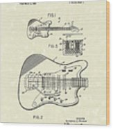 Fender Guitar 1966 Patent Art Wood Print by Prior Art Design