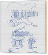 Fender Guitar Patent Drawing Wood Print