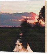 Fenland Sunset Wood Print
