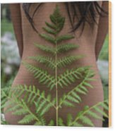 Fern And Woman Wood Print