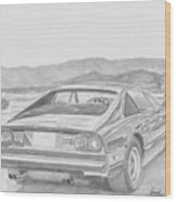 Ferrari 308gts Rear View Exotic Car Art Print Wood Print