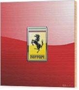 Ferrari 3d Badge-hood Ornament On Red Wood Print