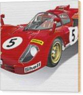 Ferrari 512 Illustration Wood Print