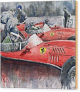 Ferrari Dino 246 F1 1958 Mike Hawthorn French Gp  Wood Print by Yuriy  Shevchuk