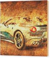 Ferrari F60 America, Golden Poster, Birthday Gift For Men Wood Print