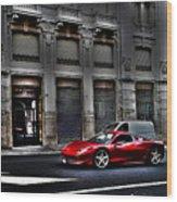 Ferrari In Rome Wood Print