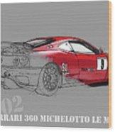 Ferrari Michelotto Race Car. Handmade Drawing. Number 9 Le Mans Wood Print