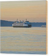 Ferries At Sunset Wood Print