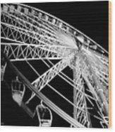 Ferris Wheel Against Black Sky Wood Print