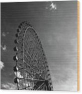 Ferris Wheel Against Sky Wood Print