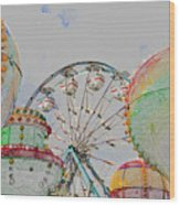 Ferris Wheel And Balloons Wood Print