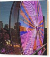 Ferris Wheel At Fun Fair In Downtown Portland Oregon Wood Print