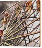Ferris Wheel At Sunset Wood Print