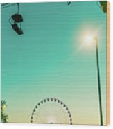 Ferris Wheel Sunset Wood Print