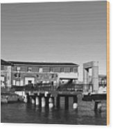 Ferry Building And Pinnacle Building - San Francisco Embarcadero - Black And White Wood Print