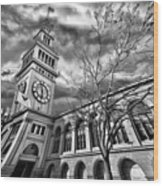 Ferry Building Black  White Wood Print