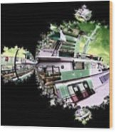 Ferry In Fractal Wood Print