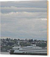 Ferry In Seattle Washington Wood Print