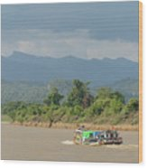 Ferry On The Chindwin 2 Wood Print