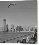 Ferry Ride To Statue Of Liberty Ny Nj Black Wht  Wood Print
