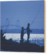 Ferry Road Fishermen Wood Print